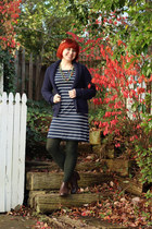 navy striped shift Cherokee dress - brown traffic boots
