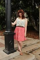 12c1cc41c0 salmon polka dot Forever 21 skirt - tawny sandals Forever 21 wedges