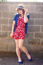 tan H&M hat - red Forever 21 romper - blue pointed Xhileration flats - blue Fore