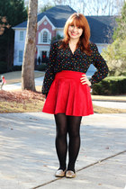 polka dot christian dior blouse - velvet romwe skirt - Xhileration loafers
