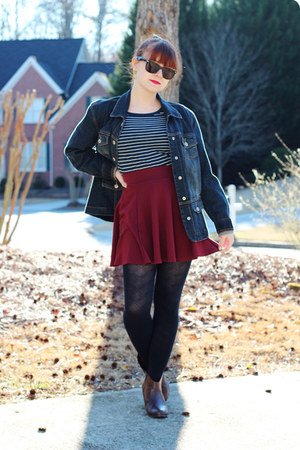 maroon skater H&M skirt - dark brown ankle City Classified boots