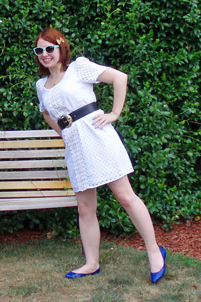 white Bailey blue dress - black Thrift Store belt - blue Target shoes - blue For