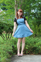 sky blue pinafore Forever 21 dress - black lace crop top H&M top