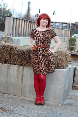 red nylon Kmart tights - light brown leopard print Boohoo dress