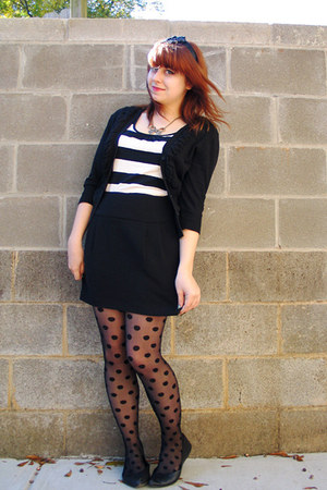 black polka dot joe boxer tights - black so cardigan