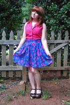 violet skirt - dark brown sandals Xhileration clogs - pink top