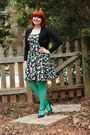 Black-handmade-dress-green-nylon-target-tights