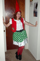 green handmade skirt - red handmade vest - white Delias blouse - red handmade ha