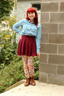 Tawny-lace-up-ankle-thrifted-vintage-boots-light-blue-forever-21-shirt