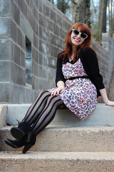 black Xhileration boots - pink leopard print modcloth dress