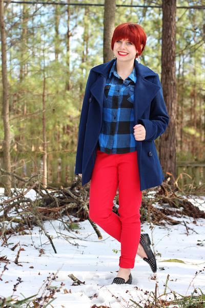 red denim skinny Levis jeans - navy wool peacoat London Fog coat