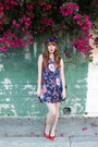 Floral-modcloth-dress-purple-floral-vintage-hat-owl-modcloth-bag
