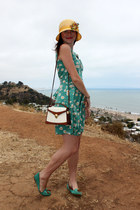 Roche Leather purse - Trollied Dolly dress - handmade hat - DV flats