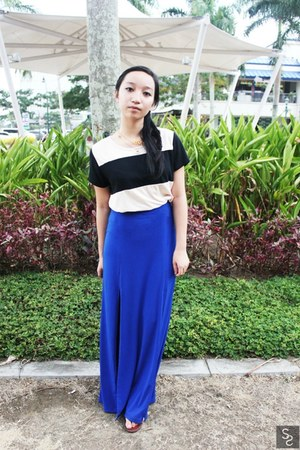 blue maxi jelly bean skirt