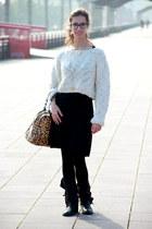 black military Zara boots - black basic Mango dress - white wool Zara sweater -