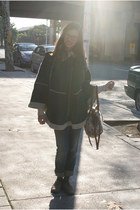 navy Topshop cape - peach Primark bag - blue Pepe Jeans jeans - dark brown Micha