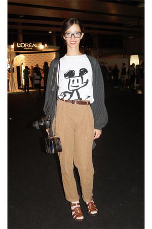charcoal gray Zara cardigan - bronze Zara pants - dark brown Zara sandals - dark
