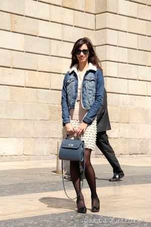 off white chiffon Zara dress - blue denim Topshop jacket - light pink knit H&M s