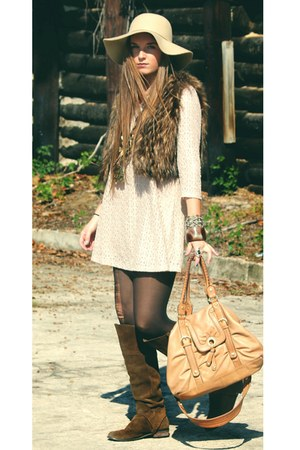 beige lace Forever 21 dress - dark brown suede ecote boots