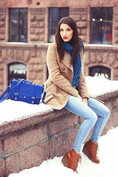 beige handmade coat - tawny vagabond boots - light blue Stradivarius jeans