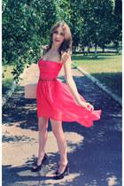 red DIY dress - neutral new look purse - black gianmarco lorenzi heels