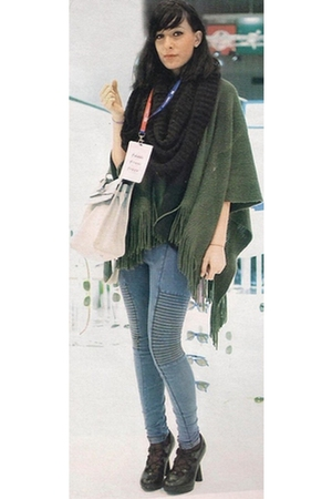 green monoprix cardigan - black H&M sweater - blue H&M leggings - black H&M scar