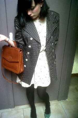 black vintage blazer blazer - beige ba&sh dress - black tights - green Primark s