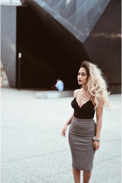 ivory motor jacket Forever 21 jacket - heather gray pencil skirt H&M skirt