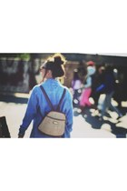 camel Dolce Vita bag - sky blue thrifted top