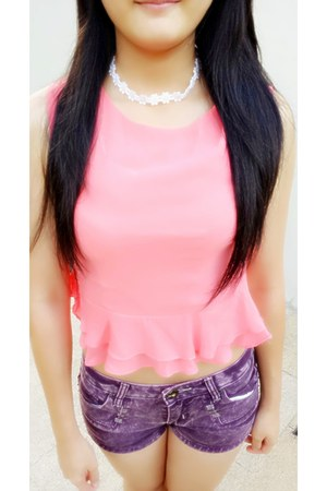 cute Pink Crop Top shirt - daisy flowers Daisy Choker accessories