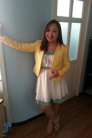 light yellow Mango blazer - off white Anthropologie dress - beige vintage heels