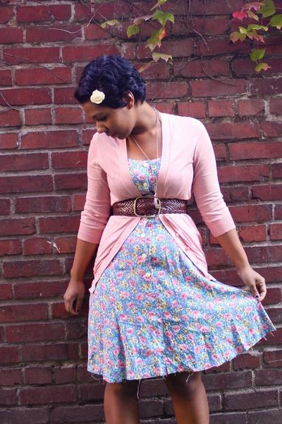 blue Goodwill dress - pink JCrew sweater - brown A&E belt