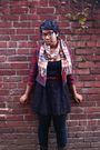 Black-thrifted-dress-red-forever-21-jacket-beige-gift-scarf-black-gift-boo