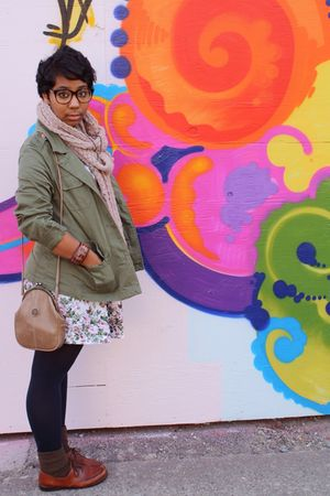green thifted jacket - white Goodwill dress - pink thrifted scarf - brown thifte