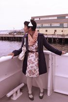 beige Forever 21 dress - blue Tulle jacket - pink Market in Portugal scarf - whi
