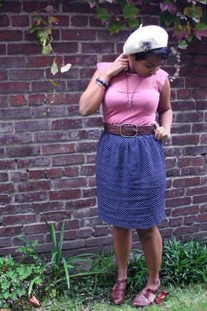 pink thrifted blouse - blue thrifted skirt - brown thrifted shoes - white Urban