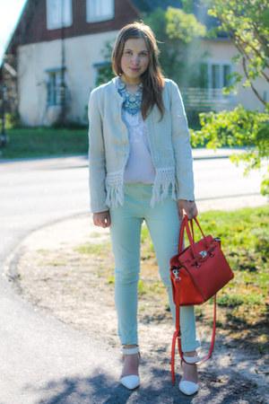 orange faux leather Fiorelli bag - light blue skinny jeans Zara jeans