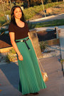 Teal-maxi-skirt-thrifted-vintage-skirt-black-zara-boots