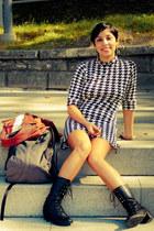 black Miss Kg boots - black dress - burnt orange Peruzzi jacket