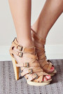 Beige-tfnc-dress-bronze-siren-heels