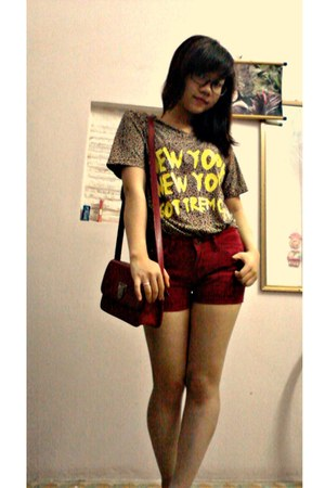Zara shorts - leopard skin shirt - red bag bag