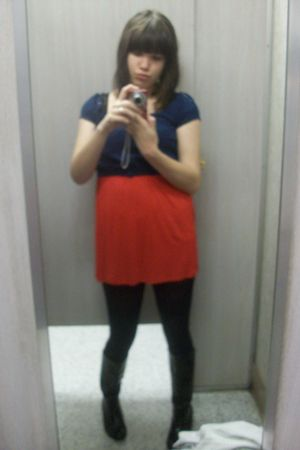 red dress - blue top - black boots