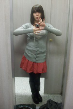 pink skirt - black tights - black boots - gray cardigan - white shirt