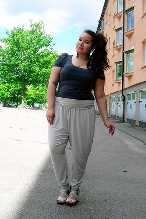 silver H&M pants - black H&M top - silver BELLE SHOES shoes
