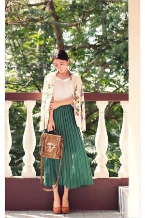 ivory floral print Sheinside blazer - brown satchel jeanasis bag