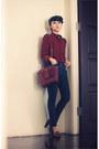 Brick-red-geometric-print-romwe-shirt-dark-brown-satchel-2-way-coach-bag