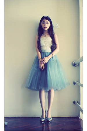 teal tulle alexandra grecco skirt - silver glitter H&M heels