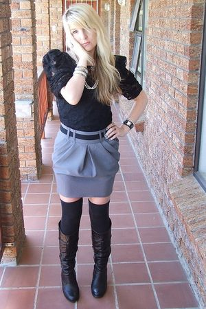 black shoulder pad lace top - gray Tulip skirt - black over the knee socks socks