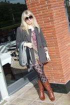 grey coat Fosch - boho 34 dress www - lace tights - tan 34 boots Exact