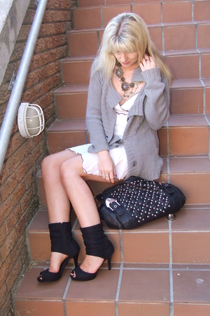 cardigan - dress - shoes - stud bag
